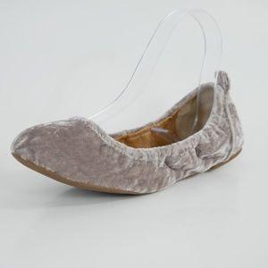 Lucky Brand Eleesia Velvet Ballet Flats Grey 7 New